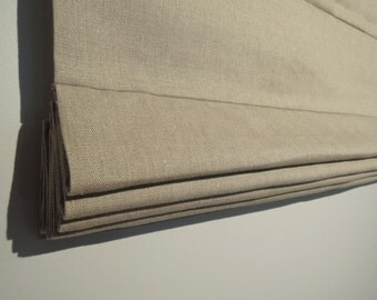 Ready-Made Classic Style Roman Shade, 100% Heavy Linen, 32 x 55, Roman Blind, Window Covering