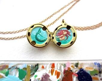Tiny Mermaid Original Oil Painting Miniature, Brass Locket Necklace