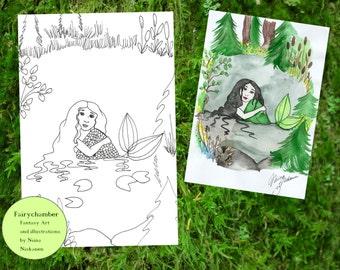 Digital Stamp Swamp Mermaid Sorella Instant Download Coloring Book Page Fantasy Art Printable Mermaid Illustration by Niina Niskanen