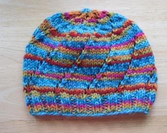 Handknit Beanie Swirl Hat Kaleidoscope