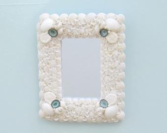 Seashell Mirror or Frame, White and Aqua Shells, Coastal Wall Decor, Wall Hanging Mirror,Shell Mirror,Mirror with Shells