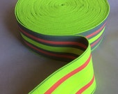 Fluorescent safety green, gray, and coral extra wide striped elastic, 2 5/8 inches wide