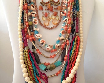 Southwestern Turquoise Necklaces 5 Earrings 4 Bracelets 1 Ring Boho Vintage Coral Jewelry Lot CORT *