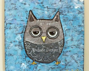 Grey Owl Painting, Be Wise, Woodland, Home decor, Owl, Impressionistic, Grey, Birds, Nature
