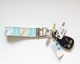 Fabric Key Chain Fob Les Amis Owls