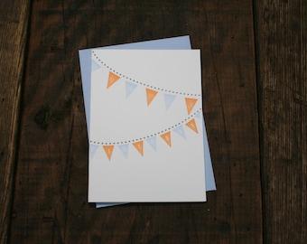 Letterpress Printed Birthday Pennants Card (Orange + Blue) - single