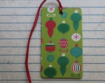 27 Christmas gift tags Ornaments patterned paper over chipboard tags