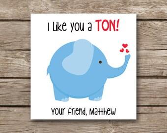 PRINTABLE   Valentineu0027s Day Tag   Elephant Valentine   Elephant Tag    Elephant Sticker   Favor