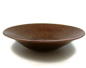 Handmade Pottery Bowl  - Small Flat Snack Bowl = Handmade Ceramic Bowl - Wheel Thrown Stoneware Clay Centerpiece - Ready to Ship