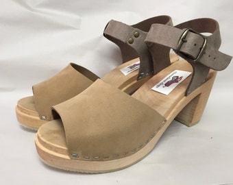 Open toe Two tone Nude Nubuc Mary Jane on a natural Super High Heel with buckled ankle strap