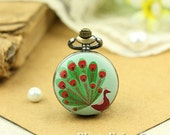 10% OFF SALE - 1pcs Personalized Handmade Antique Bronze Photo Pocket Watch Pendant / Charm (Peacock) -- HWK001J