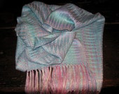 Handwoven Tussah Silk Scarf, Shimmery Handpainted Silk woven by Tisserande