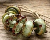 WINTERBERRY - Handmade Lampwork Beads - Earring Pairs - 6 Beads