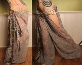 Tribal Belly Dance Harem Pants, Grey Lace cut out leg. Turkish floorwork, tribal fusion, Gypsy costume, Art Nouveau Costume, Mardi Gras,Gray