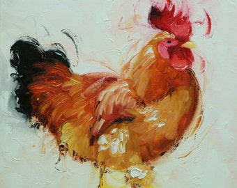 Rooster 803 12x12 inch animal portrait original oil painting by Roz