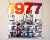 1970s Mylar Calendar, Silver Screenprint, Harry Hambly Studios, Original Vintage Poster, Mod Wall Hanging, Reflective Mylar Film, Art Poster