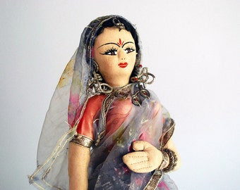 Indian Cloth Doll, East Asian Folk Art, Fiber Art Doll, Wedding Bride Doll, Vintage Handmade Toy, International Doll, Woman in Sari