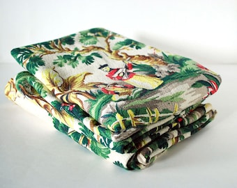 Vintage Textile Barkcloth Curtain Panels 1940s Cotton Fabric Spectrum Supplies Asian Green Jungle Orientalism Mid Century Pattern Print