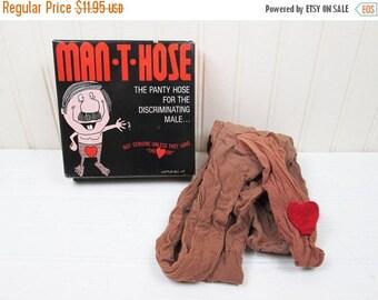 ON SALE Vintage Man-T-Hose Novelty Gag Gift Man Pantyhose Nylons Adult Humor In Box