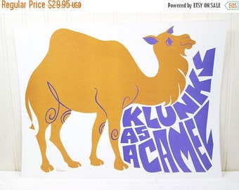 ON SALE Vintage Children's School Poster Klunky As A Camel Mod Rhino Illustration Current Inc.