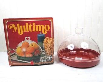 Vintage Food Storage Jar Multimo Plastic Dome Tray Mid Century Modern In Box
