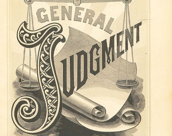 Antique Religious Print Judgment 1883 Steel Engraving Christian Book Plate