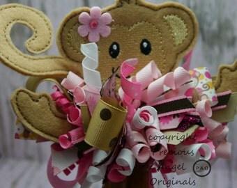 Cute Monkey Funky Loopy Bow