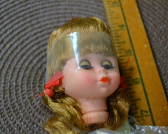 Vintage Doll Head with Hair and Fluttery Eyes
