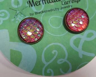 Mermaid Scale Earrings - Pink