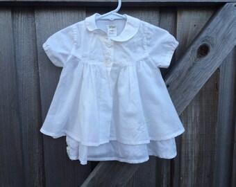 White Cotton Turtle Dress 3-6 Months