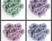 pink rose heart, blue rose heart, purple rose heart, green rose heart, photo print set, girls room decor, nursery decor, blue rose photo