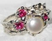 On Sale - Ruby (lab) & Pearl Ring handmade Sterling Silver Made USA Treasurings