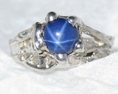 On Sale - Blue Star Sapphire 6mm 1ct Ring handmade Sterling Silver OOAK Made USA Treasurings