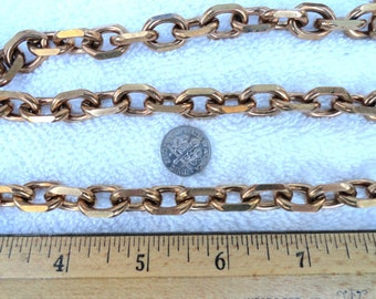 3 Feet of Large Vintage Brass Chain, 17mm x 12mm Oval with Filed/Flat Edges