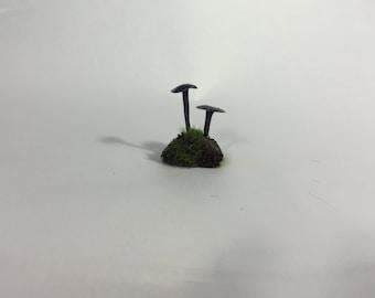 Glow-in-the-Dark Dark Mushrooms with Moss