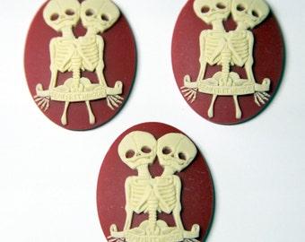 "Conjoined Twins ""Semper et Ubique"" macabre skeleton needle minder - needleminder pinminder needlecraft accessory"