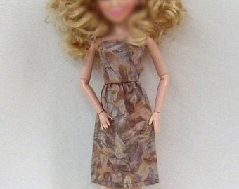 "Tan 11.5"" fashion Doll Clothes Handmade Dress ready to mail"