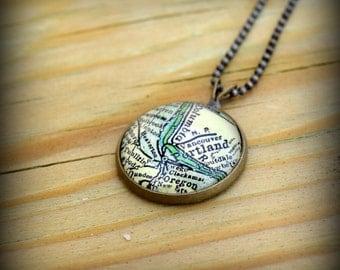Portland Map Necklace - Custom Handmade Pendant - Charm Jewelry - Oregon - Bridesmaid Gift - Wanderlust Jewelry