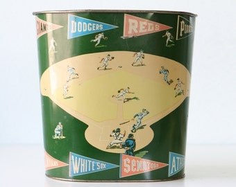Vintage Baseball Trash Can