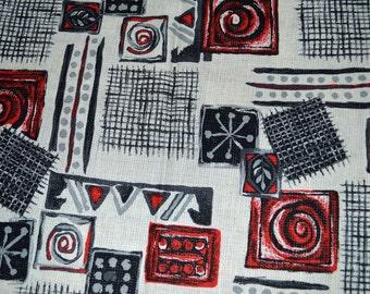 Vintage MID CENTURY MOD Atomic Eames Era Geometric Pressman Gutman Fabric 88 x 62