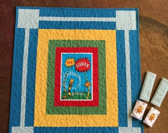 Dr Suess Car Seat Quilt with 2 sets of car seat strap covers, baby shower gift, baby quilt, stroller quilt, new mom gift,