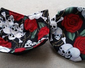 SKULL & ROSES Bowl Cozy Bowl Cover Washable Cotton Reversible Hot Pad ECO Friendly