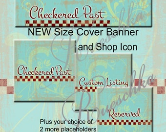 Checkered Past Etsy Cover Banner Shop Icons Set  Aqua Red Blue Green Checks Floral