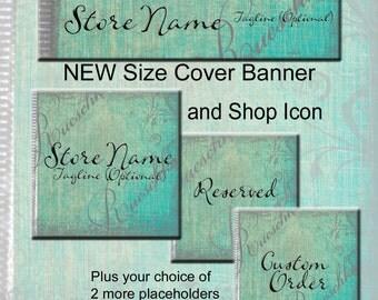 Turquoise Gray Grunge Lace Etsy Shop Icons Banners Set Aqua