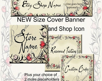 Thorny Deco Pink Red Flowers Etsy Shop Icons Banners Set