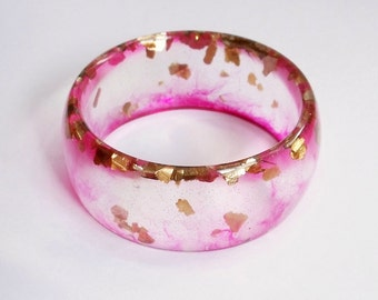 Eco resin bangle with floating gold and pink swirls - ready to ship