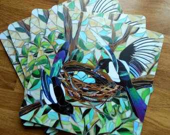 SET OF 4 Magpies Placemats - Mosaic Nesting Magpies Placemats - Two For Joy - Mosaic Art
