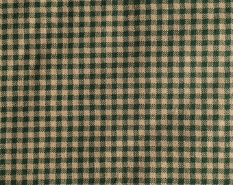 Dark Green Tan Check Fabric 1 yard more available