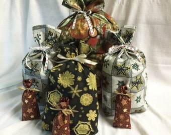 Christmas Gift Bags - 7 Tree Snowflake -  Reusable Eco-Friendly Cotton Fabric