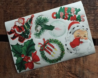 Vintage Christmas Gummed Labels / Stickers Sheet - Santa, Merry Christmas